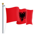 waving albania flag isolated on a white background vector image
