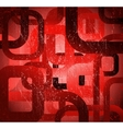 Abstract grunge square on red background vector image vector image