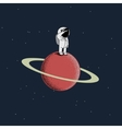 Cartoon spaceman standing on the red planet vector image