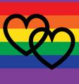 overlapping hearts on rainbow flag vector image