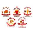 Cartoon retro fast food and pastry symbols vector image