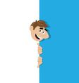happy manpeek out from behind the wall vector image