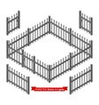 Isometric metal fence and gate vector image