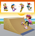 Kids playing skatboard on the ramp vector image