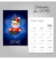 Vintage calendar with Santa and snowflake vector image