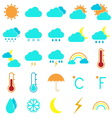 Weather and climate color icons on white vector image