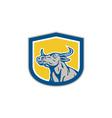 Bull Head Shield Retro vector image