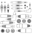 various outline audio connectors and inputs set vector image vector image