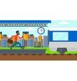 Man running along the platform vector image vector image