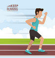 colorful poster keep running with man athlete vector image