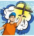 pop art of young boy launching vector image