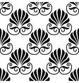 Pretty black fan shaped floral motif seamless vector image