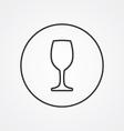 wineglass outline symbol dark on white background vector image