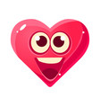 happy and excited emoji pink heart emotional vector image