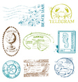 Set of Retro SEA stamps vector image vector image