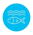 Fish under water line icon vector image