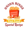 Fast food snacks icon with fried onion rings vector image vector image