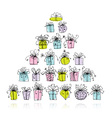 Pyramid from gift boxes for your design vector image vector image