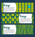 Set hipster backgrounds in blues and greens Hand vector image