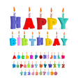 Birthday font letters and candles Celebratory vector image vector image
