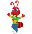 cute red ant cartoon thumb up vector image