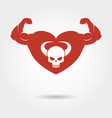 Skull in heart with male biceps vector image