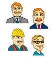 Cartoon male businessmen builder doctor characters vector image
