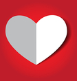 white heart on a red background vector image