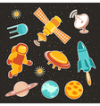 Space ship icons with planets rocket and astronaut vector image vector image