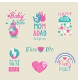 collection of cute baby and kid logo vector image