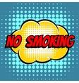 No smoking comic book bubble text retro style vector image