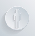 paper circle flat icon silhouette of a man vector image