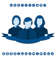 silhouettes of call center operators with headset vector image