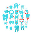 tooth dental care logo icons set flat style vector image