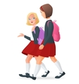 Two girls in uniform on the way to school vector image