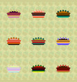 pie icons set delicious pies vector image