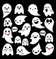 Cute ghosts icons on black halloween vector image