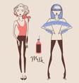 fashion girls hand drawn vector image