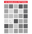30 retro styled black seamless patterns vector image