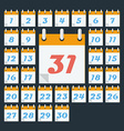 Calendar with days of month Flat style vector image