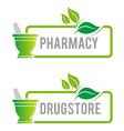 Logo Pharmacy Mashed Drugs Organic Product Icon vector image