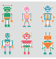 Colorful bright cute retro robots stickers set vector image vector image