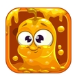App icon with funny cute yellow slimy monster vector image