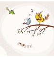 Birds sitting on a tree branch vector image