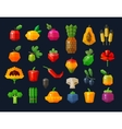 fruits and vegetables fresh food icons set vector image