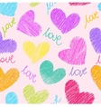 Seamless pattern with sketchy hearts vector image