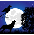 Silhouettes animal in the night vector image