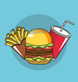 tasty fries french hamburger and soda plastic cup vector image