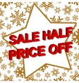 Winter sale poster with SALE HALF PRICE OFF text vector image