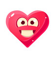 content and proud emoji pink heart emotional vector image